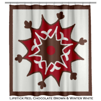 Suzani Shower Curtain Moroccan Style Red and Brown