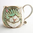 Cat Mug, pottery mug, valentines gift, cat loaf mug, cat art , holds approx 13 oz and is dishwasher and microwave safe.