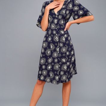 Glimmering Nights Navy Blue Print Shirt Dress