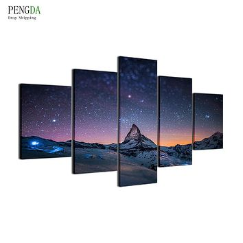 PENGDA Pictures HD Print Canvas Painting On Oil Paintings Wall 5 Panel Mountain Peaks Landscape For Living Room Cuadros Picture