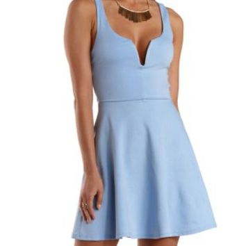 Lt Blue Open Back Plunging Skater Dress by Charlotte Russe