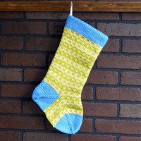 Striped Christmas Stocking, Hand Knit in Blue, Yellow and Green, Housewarming Gift, Wedding Gift, Baby Shower Gift