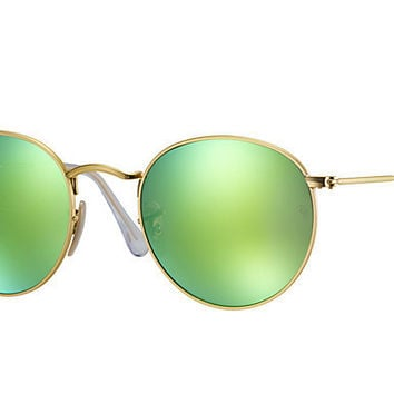 Ray Ban Round Sunglass Matte Gold Green Polarized Mirrored RB 3447 112/P9