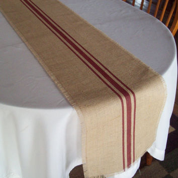 Burlap Table Runner 12 x 84 with Hand Painted Grain Sack Stripes in Barn Red - Other Colors Available