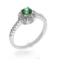 Micro Pave Setting 925 Silver  Emerald Ring.