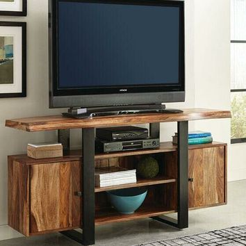 Coaster 700890 Knox collection natural and black finish wood mid century modern style TV stand