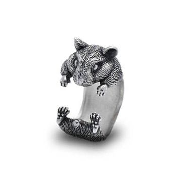 Hamster jewelry Guinea Pig ring  Rat ring Ajustable ring  Rodent ring Gnawer Antique Silver hamster Mouse 12pcs/lot