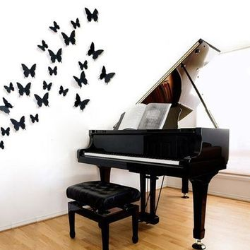 12PCs 3D Art Butterfly Design Wall Stickers Decals Home Decor Poster for Rooms Wall Decorations