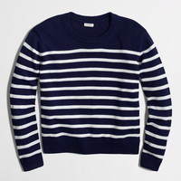 Factory cropped cotton sweater in stripe