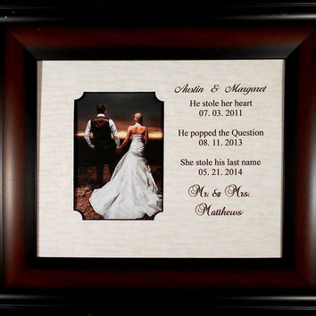 WEDDING GIFT BRIDE Important Dates Engagement Wedding  Personalized Laser Picture Frame Groom Bride Marriage 13x15 overall