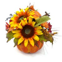 Yellow Sunflower Mixed Pumpkin Harvest Pot - Walmart.com