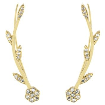Gold Over Sterling Silver Floral Vine CZ Crawler Earrings