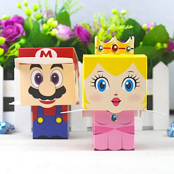 50 Princess Peach and Super Mario Party Favors/DIY Nintendo Themed Party Favors/Video Game Gift Boxes/Mr and Mrs Super Mario/DIY Gift Boxes