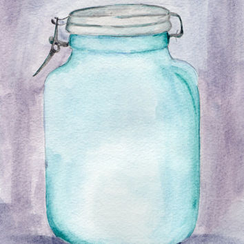 Blue Mason Jar Watercolor Painting, Food Painting, Antique Art, Ball Jar Painting