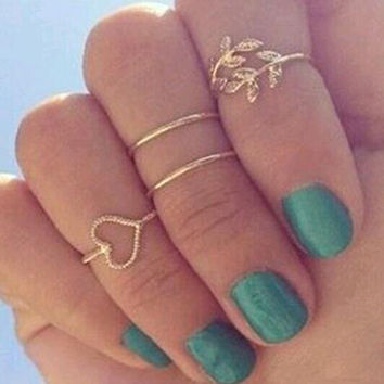 2015 New 4 Set Rings Urban Gold Plated Crystal Plain Cute Above Knuckle Ring Band Midi Ring Set auger leaves 4 ring