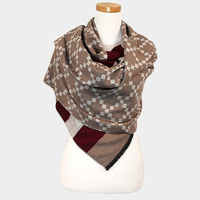 Women's Burgundy Multi-Color Geometric Pattern Scarf