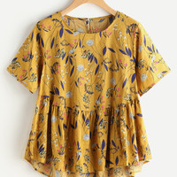 Allover Calico Print Keyhole Back Smock Blouse -SheIn(Sheinside)