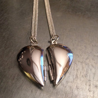 Two Hearts Beat as One Heart Locket Necklace