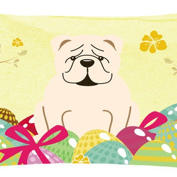 Easter Eggs English Bulldog White Canvas Fabric Decorative Pillow BB6123PW1216