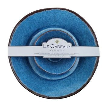 Le Cadeaux Antiqua Blue Chip and Dip 2 Bowl Set