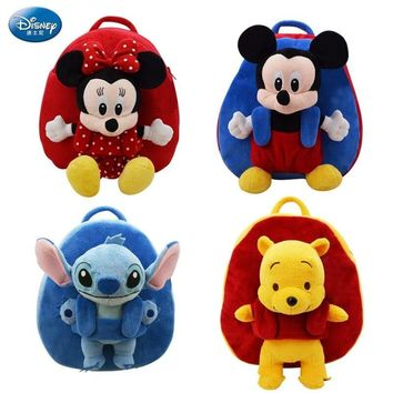Disney Backpack Bag Plush Toy Winnie the  Mickey Mouse Mickey Minnie Jumping Tiger Plush Doll Doll Bag Children's Birthday