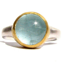 Round Aquamarine Ring, 24k Gold and Sterling Silver.