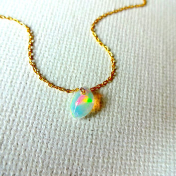 Natural Micro Ethiopian Welo Fire Opal Floating Stone Pendant & 14k Gold Fill Chain Necklace; Free Form Rough Opal Charm; October Birthstone