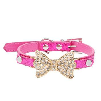 DCCK8JO 2016 Hot Sale Dog Collars Bowknot  Bling Rhinestones Dog Collar Pets Collar Dog Neck Pet Supplies Dog Products