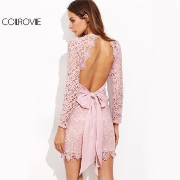Lace Bow Tie Open Back Elegant Pink Long Sleeve Mini Bodycon Dress