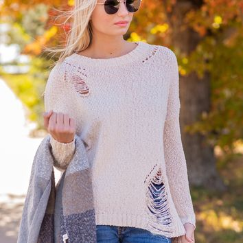 Cute On Repeat Distressed Sweater : Oatmeal