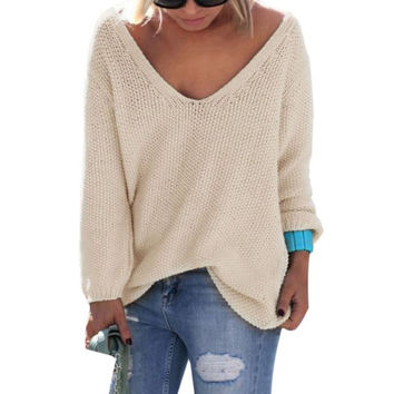 Cute Elegant V Neck Loose Casual Knit Sweater Pullover Long Sleeve Spring Sweater Tops
