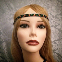 Hippie Boho Flower Native American Style Floral Deco Decorative Headband  Festival Piece Head Band hair piece Pow wow Indian America Peace