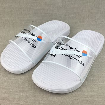 OFF WHITE x NIKE BENASSI Casual Fashion Flats Slipper Sandals Shoes
