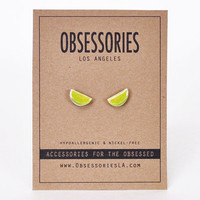 Lime Earrings Lime Wedge Lime Slice Fruit Earrings Food Earrings Small Stud Earrings Food Jewelry Accessories Cute Quirky Gift Idea For Her