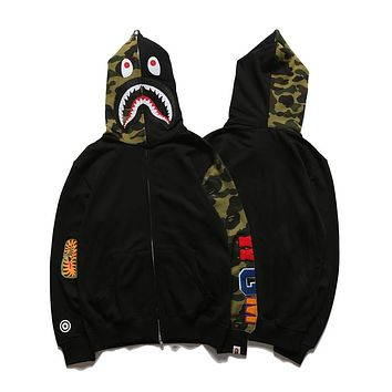 Bape Shark head mosaic half-sleeved camouflage sweater jacket S ~ 2XL