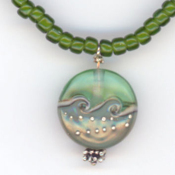 Dark Green Ocean Waves Pendant and Matching Bead by Lehane on Etsy