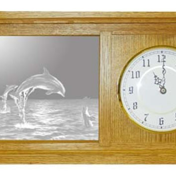 """""""Dolphins"""" Etched Glass Mantle and Wall Clocks"""