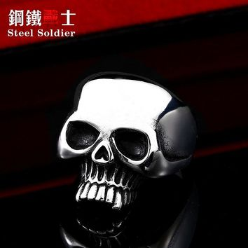 steel soldier biker punk skull ring stainless steel funny finger titanium steel jewelry gift personalized