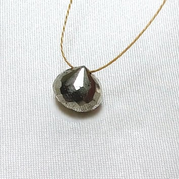 Pyrite Onion Briolette Necklace, Faceted Pyrite, Fools Gold, Minimalist Jewelry, Wabi-Sabi Pendant, Zen Gemstone, Cord Necklace, Organic