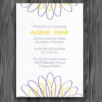 Printable Bridal Shower or Baby Shower Invitation - Purple and Yellow Daisy