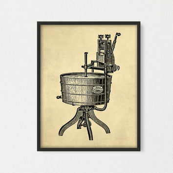 Vintage Washing Machine Printable, Laundry Room Decor, Bathroom Print, Washing Machine Poster, Old Advertising Art, Laundry Room Poster