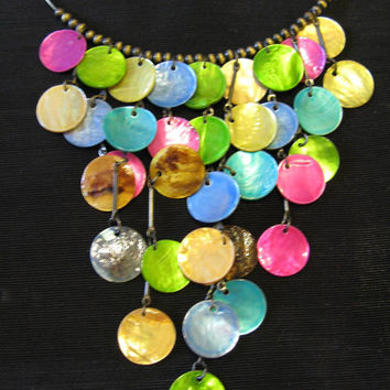 Mermaid Necklace, Rainbow Necklace, Shell Necklace, Bib Necklaces, Statement Necklace, Multi-Coloured