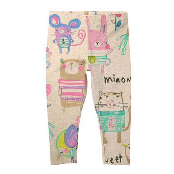 girls leggings autumn animal graffiti character print kids pants brand toddler stretch pants casual children clothing trousers