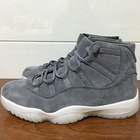 "Air Jordan 11 PRM""Grey Suede"" Basketball Shoes 41-47"