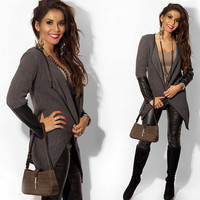 Lapel PU Patchwork Long Sleeves Short Slim Coat