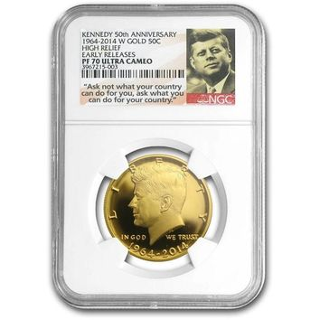 2014-W 3/4 oz Gold Kennedy Half Dollar PF-70 NGC Early Releases (JFK Label)