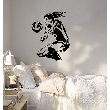 Wall Sticker Sport Volleyball Player Beach Woma Girl Female Vinyl Decal Unique Gift (z3068)