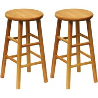 "Beech Wood Counter Stools 24"", Set of 2, Natural - Walmart.com"