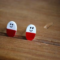 Happy Pill Earrings -- Studs, Nurse Earrings, Rx Earrings, Pharmacist Jewelry