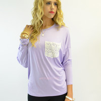 SZ MEDIUM Manchester Lilac Crochet Lace Pocket Top